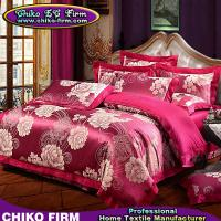 100% Cotton Dark Red Big Flower Jacquard Bed Sheet Bedding Sets
