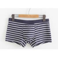 Stripe Cotton Mens Underwear Boxer Briefs Low Rise Waist With Big 3D Pouch