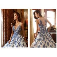 Buy cheap Exquisite Appliqued Fit And Flare Wedding Gown With Long Sleeve Waist Bandage from wholesalers