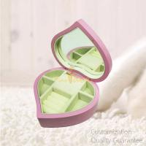 Buy cheap Stylish Good Quality Heart Shaped Matte Pink Women Girls Jewelry Storage Display Chest Box , Personalized Logo Brand. product