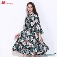 Buy cheap Chiffon Speaker Sleeve Long Casual Dresses For Women Floral Printed from wholesalers