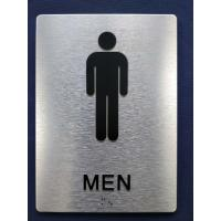"Buy cheap 1/32"" Tactile Text ADA Braille Restroom Signs With 1/8"" Brushed Aluminum Composite Panel product"