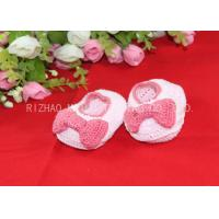 Buy cheap Pink Bows Accessories Handmade Crochet Baby Shoes For Girls , Knitted Baby Shoes from wholesalers
