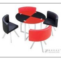 Buy cheap home Painted frame steady glass top round dining table and chairs from wholesalers