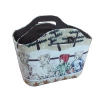 Buy cheap PU Leather printing storage gift basket wholesale retail from wholesalers