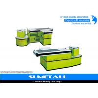 Buy cheap Green Color Supermarket Checkout Counter Cash Desk With Stainless Steel Table Surface from wholesalers