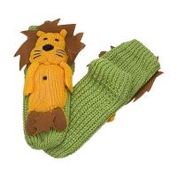 Buy cheap Green Knitted Slipper Aloe Infused Socks With Gold Lion Pattern Design from wholesalers