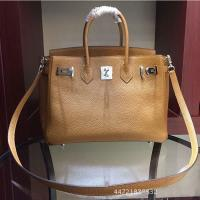 Buy cheap hot sale high quality camel 25cm 30cm Lychee cowhide leather handbags women gorgeous brand handbags LR-B08 from wholesalers