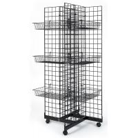 Buy cheap 4 Sided Retail Display Racks Merchandising Shelves With 12 Baskets from wholesalers