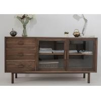 Buy cheap Modern Wooden Television Stands 2 Glass Doors And 3 Drawers Dark Wood TV Cabinets from wholesalers