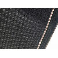 Buy cheap Black Cotton Selvage Jeans Herringbone Denim Fabric W3692 12.1oz With Embroidery from wholesalers
