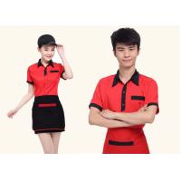 Buy cheap Red And Black Color Restaurant Staff Uniform Cotton New Polo Style For Waitresses from wholesalers