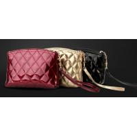 Buy cheap Pearlescent glossy diamond sewing leather lady zipper cosmetic bag with wrist strap from wholesalers