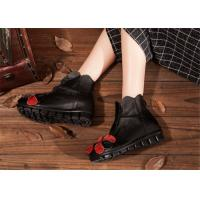 Buy cheap low heel fashion womens ankle boots with flower , black leather ankle boots from wholesalers