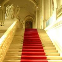 Buy cheap outdoor nonwoven red stair runner carpet from wholesalers