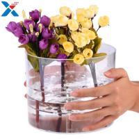 Buy cheap Waterproof Acrylic Flower Box Makeup Organizer Holder Round Shape ROHS Approval product