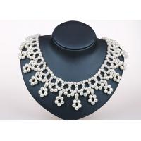 Buy cheap 18 Inch Cream White Handcrafted Pearl Jewelry , Flower Fringe Silver And Pearl Jewellery from wholesalers