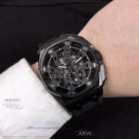 Buy cheap Perfect Replica Audemars Piguet Royal Oak Offshore Black Hollow Dial 43mm Mineral Crystal Glass Watch from wholesalers