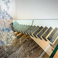 Buy cheap floating stair / Glass Staircase / Build Floating Staircase Latest design I shape residential floating stairs with LED l from wholesalers