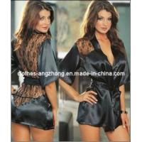 Buy cheap So Sex Black Satin Black Sexy Lingerie Costume Pajamas Underwear Sleepwear Robe and G-String from wholesalers