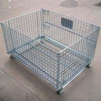 Buy cheap Lockable Logistic Folding Wire Mesh Cage / Steel Storage Container Foldable Mobile from wholesalers