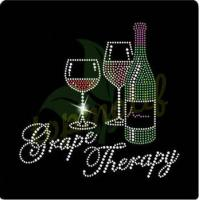 Buy cheap Fashion Grape Therapy Wine Hot Fix Motif For T-Shirt Hoodies from wholesalers