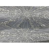 Buy cheap Beautiful Silver Embroidered Heavy Beaded Lace Fabric , Beaded Net Fabric 130cm Width product