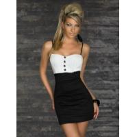 Buy cheap Sexy Clubwear Wholesale Black White New Arrival Fashion Black Dress with Button Decorate as sexy clubwear for party from wholesalers