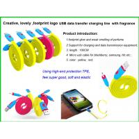 Buy cheap Fragrance usb cable with Footprint logo, Noodles Micro usb data cable, lighting  usb cable product