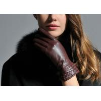 Buy cheap Brown Women Warm Winter Genuine Leather Gloves With Leather Silk Cuff Elastic Wrist from wholesalers