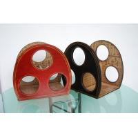 Buy cheap Small cheap unique leather  wood material leather antique tabletop wine rack from wholesalers
