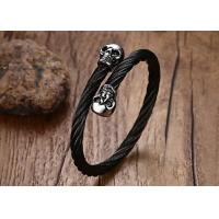 Buy cheap Fashion Punk Style316L Stainless Steel Wire Cable Twist Skull Cuff Bangle Stretch Bangle Bracelet for Men from wholesalers