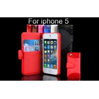 Buy cheap Water Resistant Red Leather Apple Iphone 5S Case OEM Sheepskin Wallet Cases from wholesalers