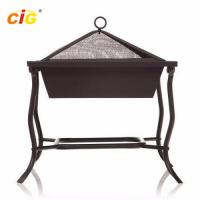 Buy cheap Outdoor Square Iron Patio Brazier Bbq Grill , Steel Black Patio Meeting Bbq Grill product
