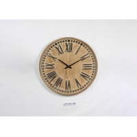 China ZY19039 12 Hours Carved Round Wooden Clocks Wall Art Clock on sale