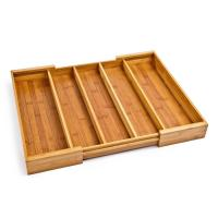 Buy cheap Multipurpose Design Bamboo Expandable Cutlery Tray 5 Large Compartment from wholesalers