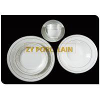 Porcelain 20 Piece Silver Line  Round Dinnerware Set Service For 4