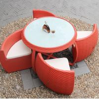 Buy cheap Cafe table chairs outdoor rattan restaurant round table chair dining set space saving furniture from wholesalers