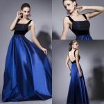 Buy cheap Sleeveless Satin Backless Womens Evening Dresses Velvet Straps in Black Blue from wholesalers