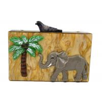 Buy cheap Unique Clasp Animal Pattern Elephant Slick Acrylic Handbag , Dress Clutch Bags from wholesalers