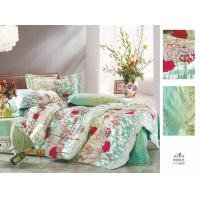 Buy cheap Home Bedroom Red and Green Floral Decorative Flat Queen Size 100 Cotton Bedding Set from wholesalers