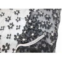 Buy cheap White Black Small Flowers Mesh Lace Fabric Elastic Polyester Nylon Tulle Plain Style from wholesalers