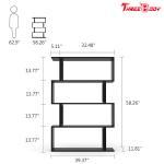 Buy cheap Black  Modern Office Furniture Corner 4 Shelf Bookshelf For Living Room / Bedroom from wholesalers