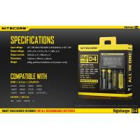 Buy cheap Nitecore brand Digicharger D4 charger for IMR/Li-ion/Ni-MH/Hi-Cd and LiFePO4 batteries from wholesalers