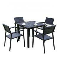 Buy cheap Hot Sales Aluminium PE Rattan chairs Leisure Outdoor Garden Backyard Polywood table and chair furniture from wholesalers