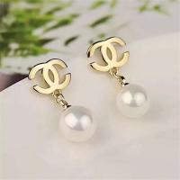 Buy cheap Chanel Logo Earrings in 18K Yellow Gold with Dropping Pearl Fashion Lady Jewelry Global Shipping from wholesalers