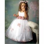 Buy cheap Custom-made sleeveless organza applique wedding Flower Girls dress F0014 from wholesalers