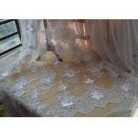 Buy cheap Ivory Embroidery Corded Sequin 3D Floral Lace Fabric For Bridal Wedding Dress from wholesalers