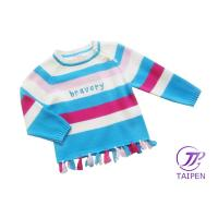 Buy cheap Colorful Stripe Round Neck Knitting Patterns Kids Sweaters, Cotton Baby Girl Sweater Dress from wholesalers