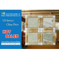 Buy cheap Yellow onyx marble mixed green onyx square mosaic tv background  tiles from wholesalers